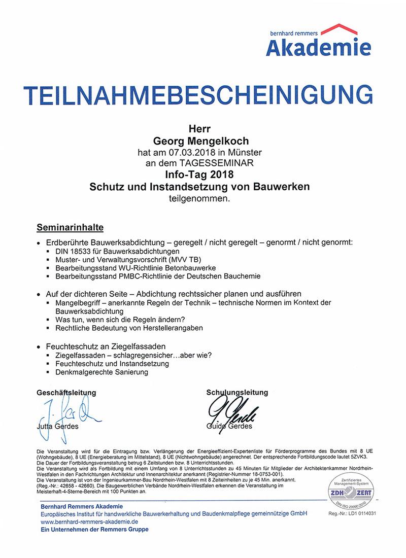 Teilnahmebescheiningung - Schutz und Instandsetzung von Bauwerken
