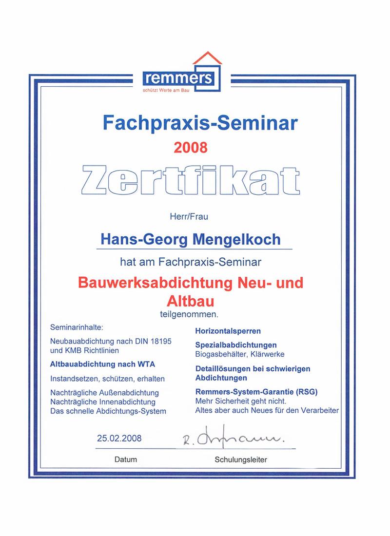Fachpraxis-Seminar - Zertifikat - Bauwerksabdichtung Neubau / Altbau