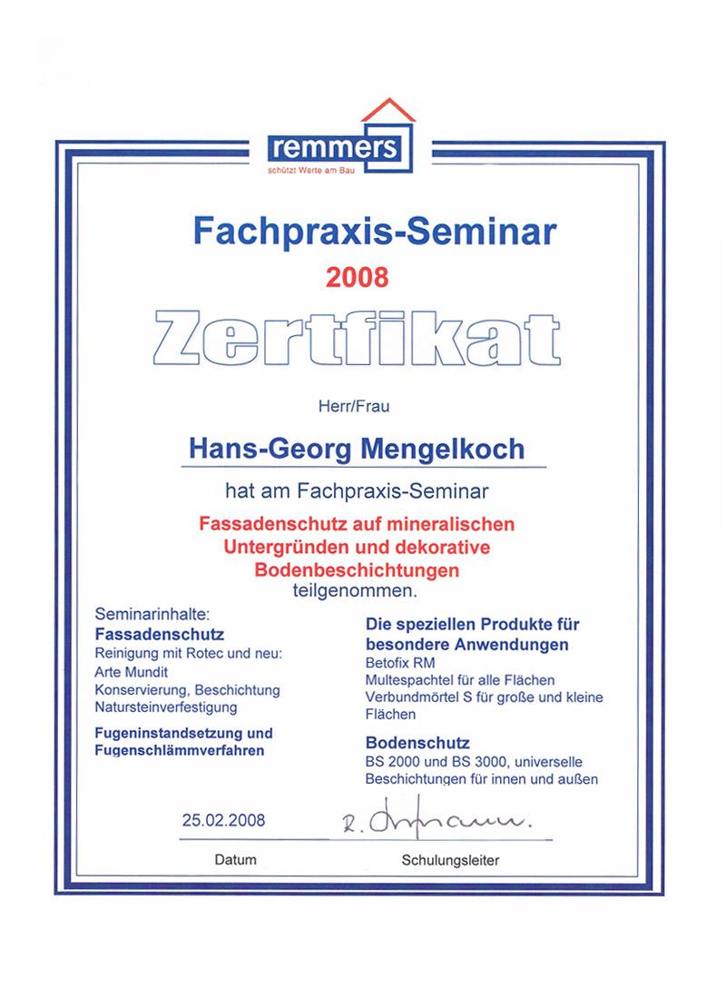 Fachpraxis-Seminar - Zertifikat - Fassadenschutz / Bodenbeschichtung