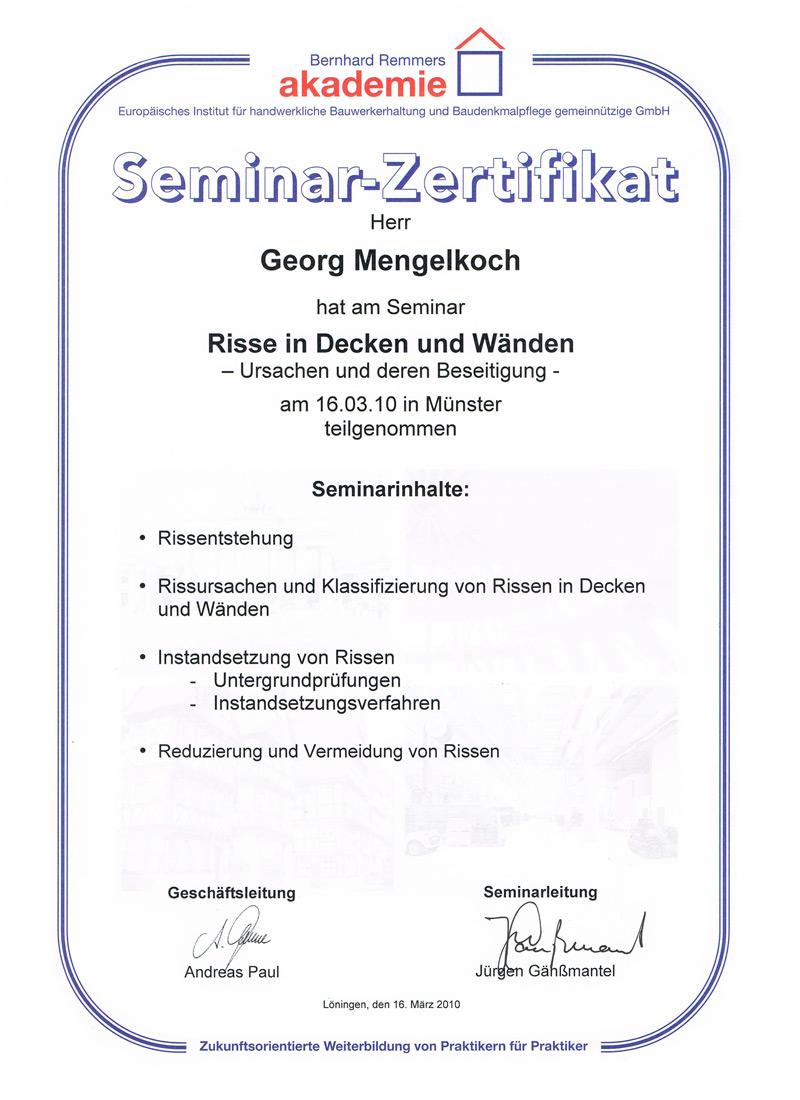 Seminar-Zertifikat - Risse in Decken und Wänden